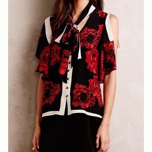 Tracy Reese Flounced Tie Neck Silk Blouse Size Sm